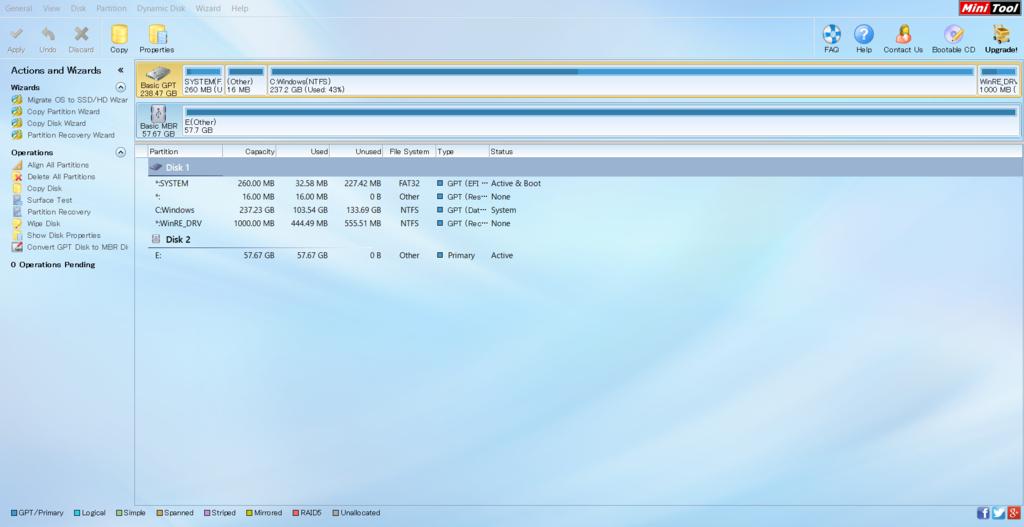パーティション管理、HDDコピーが行えるMiniTool Partition Wizardを使ってみました